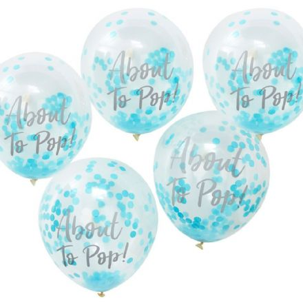 """About to Pop!"" Blue Confetti Balloons"